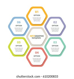 Infographic template. Six steps honeycomb form diagram. Vector EPS 10