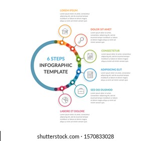 Infographic template with six steps or options, workflow, process chart, vector eps10 illustration