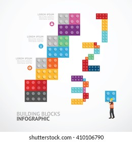 Infographic Template step building blocks banner . concept vector illustration