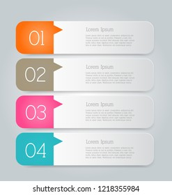Infographic template with step options for business, startup concept, web design, data visualization, banner, brochure or flyer layouts, presentation, education. Abstract 3d stock vector illustration.