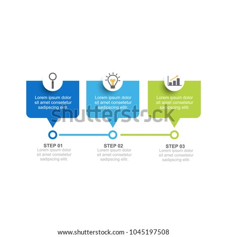 infographic template three option process step stock vector royalty
