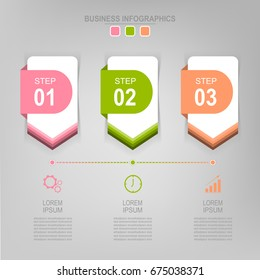 Infographic template of three steps on squares, tag banner, work sheet, flat design of business icon, vector