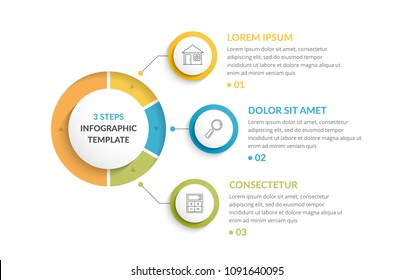 Infographic template with three steps or options, workflow or process diagram, vector eps10 illustration