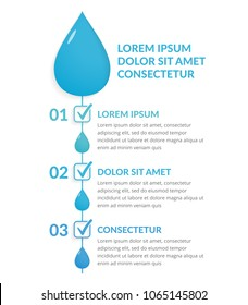 Infographic template with three steps with water drops and check marks, water infographics, vector eps10 illustration