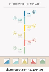 Infographic template Timeline Infographic with diagrams. With set of Icons. Vector design