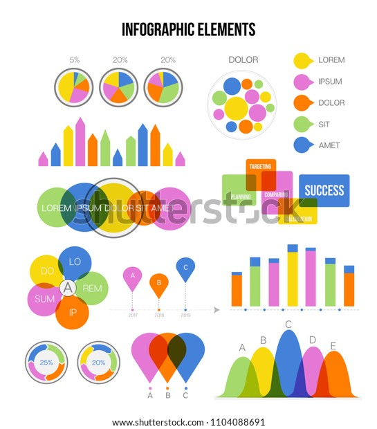 Infographic Template Vector Set Simple Business Strategy Presentation. Pie Chart, Circular Bar, Linear Diargam Advert Data Report Layout. Chart Graphic, Info Visualization, Infographic Elements