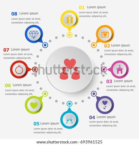 Infographic Template With Wedding Icons Stock Vector