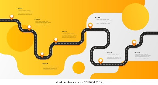 Infographic template winding asphalt road with pin-pointers. Vector EPS 10