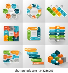 Infographic templates icons set with different diagrams and charts flat isolated vector illustration