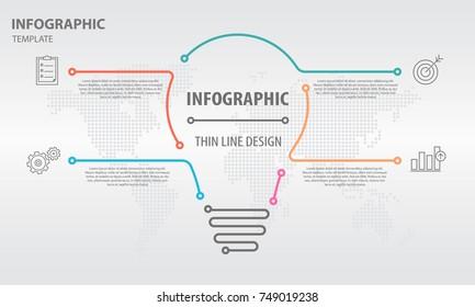 Infographic thin line design 4 options, bulb design.