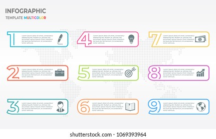 Infographic thin line design template with numbers 9 options.