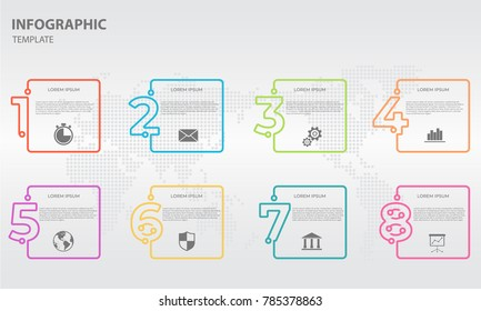 Infographic thin line design template with numbers 8 options.