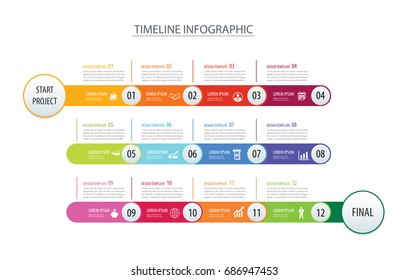 Infographic timeline 1 year or 12 month data template business concept arrows.Vector can be used for workflow layout, diagram, number step up options, web design