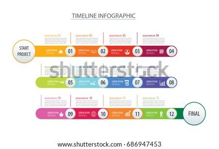 infographic timeline 1 year 12 month のベクター画像素材