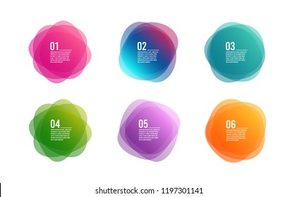Infographic timeline 6 steps. Colorful 6 options round banners. Overlay colors shape art design. Abstract style spots. Graphic tag element for advertisements or printing. Business infographic. Vector