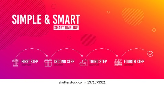 Infographic timeline. Attraction, Gift box and Shopping icons simple set. Hotel sign. Free fall, Present package, Gifts and sales. Travel. Holidays set. 4 steps layout. Line attraction icon. Vector