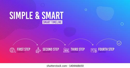 Infographic timeline. Block diagram, Music making and Internet search icons simple set. Help sign. Algorithm path, Dj app, Web finder. Documentation. Education set. 4 steps layout. Vector