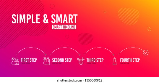 Infographic timeline. Cleanser spray, Shampoo and spray and Dirty water icons simple set. Shampoo sign. Washing liquid, Washing liquids, Aqua drop. Bath cleanser. Cleaning set. 4 steps layout. Vector