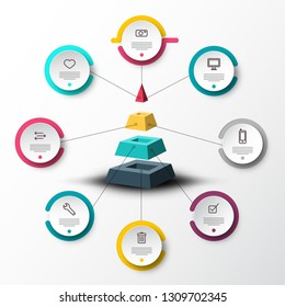 Infographic Timeline Concept with Sample Text and Icons on Circle Labels around Pyramid. Vector Company Infographics Web Presentation or Data Flow Chart.