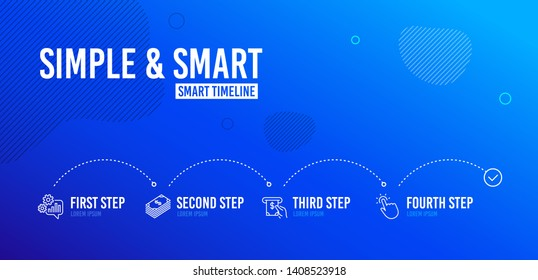 Infographic timeline. Dollar, Cogwheel and Atm service icons simple set. Touchpoint sign. Usd currency, Engineering tool, Cash investment. Touch technology. Business set. 4 steps layout. Vector