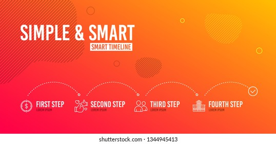 Infographic timeline. Dollar target, Like and Users icons simple set. Hospital building sign. Aim with usd, Thumbs up, Couple of people. Medical help. Business set. 4 steps layout. Vector