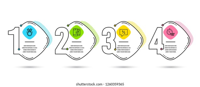 Infographic timeline set of Discount message, Phone communication and Honor icons. Quick tips sign. Special offer, Incoming and outgoing calls, Medal. Helpful tricks. Vector