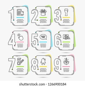 Infographic timeline set of Hat-trick, Clock bell and Checkbox icons. Quickstart guide, Online shopping and Touchpoint signs. Beer glass, Calculator alarm and Startup symbols