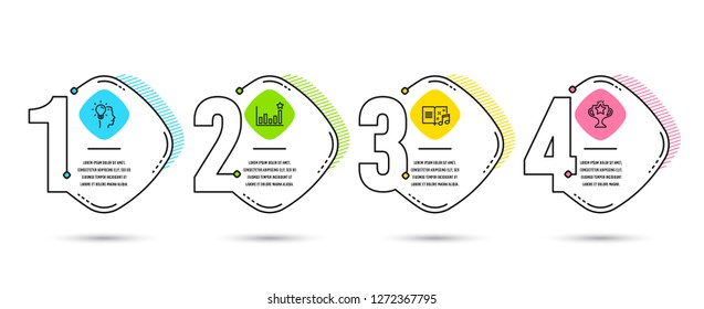 Infographic timeline set of Idea, Efficacy and Music book icons. Victory sign. Professional job, Business chart, Musical note. Championship prize. Process diagram, workflow layout