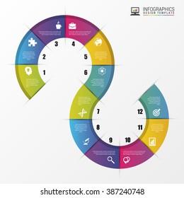 Infographic timeline spiral business template. Vector illustration