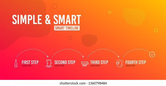 Infographic timeline. Teacup, Champagne bottle and Cappuccino icons simple set. Water drop sign. Tea or latte, Anniversary alcohol, Coffee cup. Clean aqua. Food and drink set. 4 steps layout. Vector