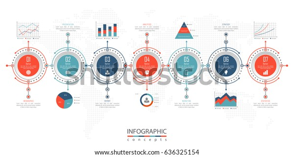 Infographic Timeline Template 7 Options Parts Stock Vector