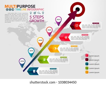 Infographic Timeline template with arrow and goal for multipurpose of use, business, workflow, diagram or web design. Consist of 5 options of step. Growth Concept. Yearly labeled