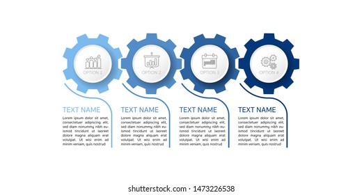 Infographic Timeline template can be used for gear workflow layout, diagram, number options, web design. Infographic business concept with 4 option, parts, steps or processes. Abstract background.