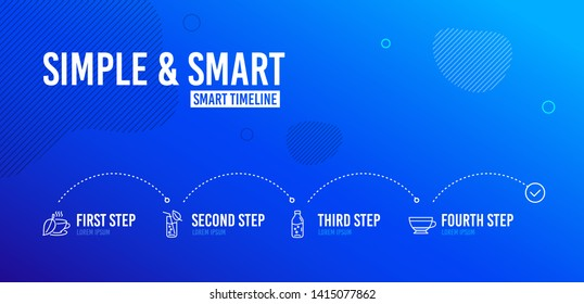 Infographic timeline. Water glass, Mint tea and Water bottle icons simple set. Dry cappuccino sign. Soda drink, Mentha beverage, Beverage mug. Food and drink set. 4 steps layout. Vector