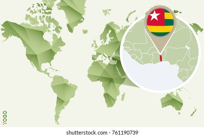 Infographic for Togo, detailed map of Togo with flag. Vector Info graphic green map.