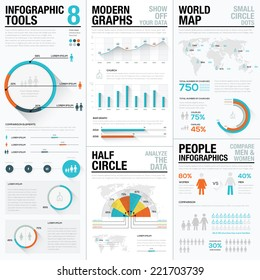 Infographic Tools 8 - human and people infographics with bar and charts. Elements for data visualization in newspapers, brochures, flyers, websites, etc. Flat and long shados design. Blue & red colors