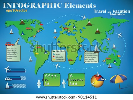 Infographic Travel Elements On Green World Stock Vector Royalty