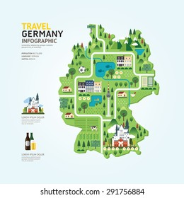 Infographic travel and landmark germany map shape template design. country navigator concept vector illustration / graphic or web design layout.