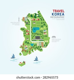 Infographic travel and landmark korea map shape template design. country navigator concept vector illustration / graphic or web design layout.
