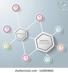 Infographic with two hexagons and colorful rings. Eps 10 vector file.