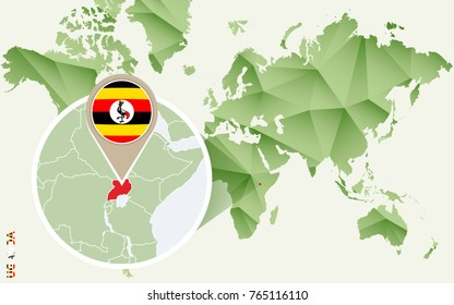 Infographic for Uganda, detailed map of Uganda with flag. Vector Info graphic green map.