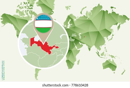Infographic for Uzbekistan, detailed map of Uzbekistan with flag. Vector Info graphic green map.