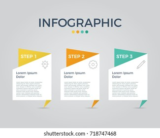 infographic vector with 3 options, can be used for step, workflow, diagram, banner, process, business presentation, template, web design, price list, timeline, report.