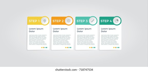 infographic vector with 4 options, can be used for step, workflow, diagram, banner, process, business presentation, template, web design, price list, timeline, report.