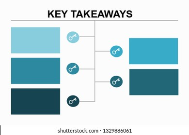 Infographic vector : 5 Key Takeaways in blue  theme