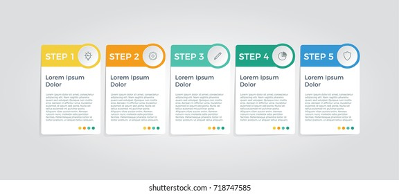 infographic vector with 5 options, can be used for step, workflow, diagram, banner, process, business presentation, template, web design, price list, timeline, report.