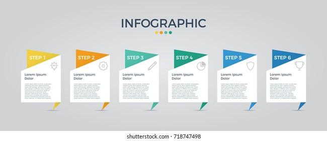 infographic vector with 6 options, can be used for step, workflow, diagram, banner, process, business presentation, template, web design, price list, timeline, report.