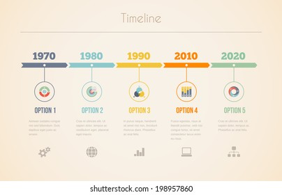 Infographic vector chart of a visual date line in retro colors with five different years at 10 year intervals with information  options and text below