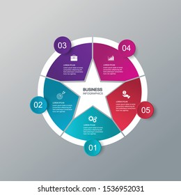 Infographic vector, cycle diagram, graph. Presentation chart. Business concepts, parts, steps, processes. Visualization of infographic data. Startup template. - Vector