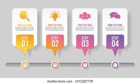 Infographic Vector Design Template with 4 Options Steps. Business Data Visualization Timeline with Marketing Icons most useful can be used for presentation, diagrams, annual reports, workflow layout